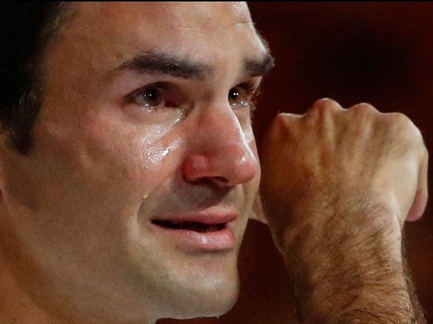 Federer cries after winning the 2018 Australian Open - his last grand slam to dateGetty Images