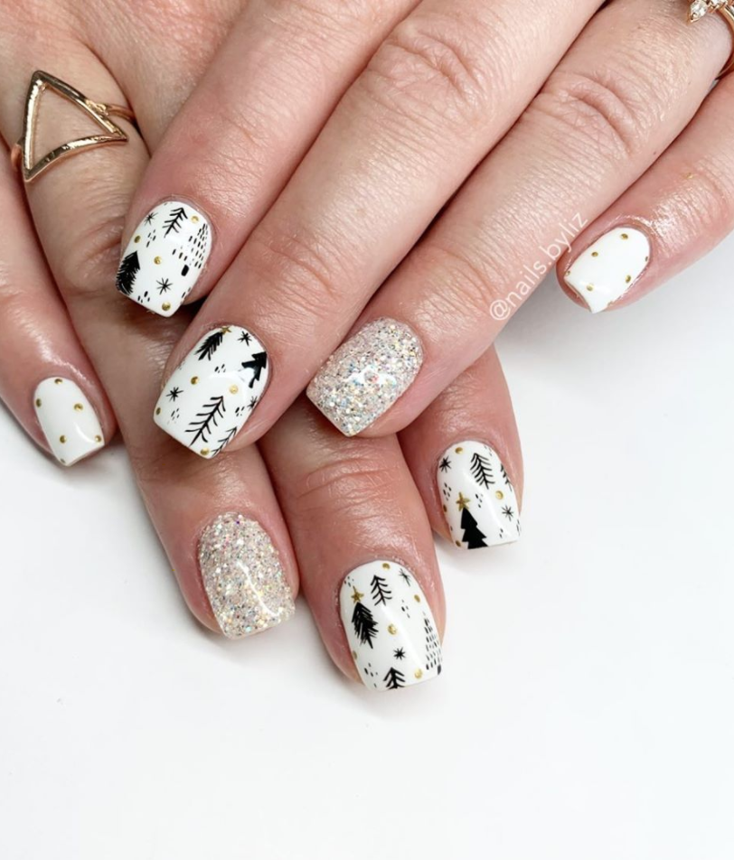 "<p>Sometimes a classic and clean black and white nail art design, like <a href=""https://www.instagram.com/p/B6LYE3oh17l/"" rel=""nofollow noopener"" target=""_blank"" data-ylk=""slk:this tree motif by Henson"" class=""link rapid-noclick-resp"">this tree motif by Henson</a>, can be a pretty monotone manicure for the holidays. </p><p><a class=""link rapid-noclick-resp"" href=""https://go.redirectingat.com?id=74968X1596630&url=https%3A%2F%2Fwww.etsy.com%2Flisting%2F737777078%2Fwinter-wonderland-snowy-tree-press-on&sref=https%3A%2F%2Fwww.oprahmag.com%2Fbeauty%2Fg34113691%2Fchristmas-nail-ideas%2F"" rel=""nofollow noopener"" target=""_blank"" data-ylk=""slk:SHOP PRESS ON NAILS"">SHOP PRESS ON NAILS</a></p>"