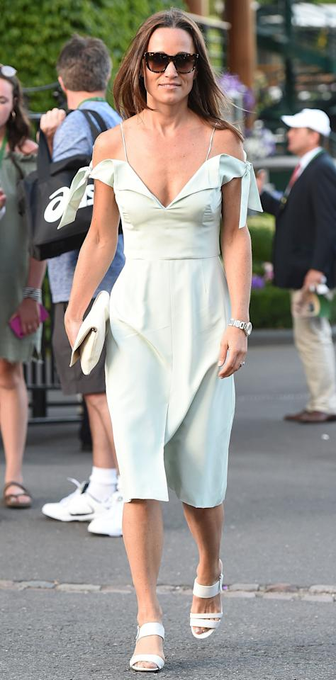 <p>Pippa Middleton showed off her honeymoon glow in a mint green dress by London-based designer Tephi while at Wimbledon on July 10. She accessorized the $496 off-the-shoulder silk dress with a cream clutch and sandals.  Get the Look: Endless Rose Tiered Off-the-Shoulder Midi Dress, $82.99; macys.com Bardot Midi Dress, $119; nordstrom.com Zanzan Apache Sunglasses, $232; zanzan.co.uk Hush Puppies Women's Molly Malia Dress Sandal, $55; amazon.com</p>