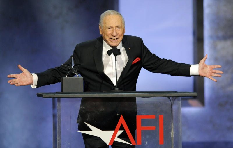 FILE - In this June 6, 2013 file photo, Mel Brooks addresses the audience during the American Film Institute's 41st Lifetime Achievement Award Gala at the Dolby Theatre in Los Angeles. President Barack Obama plans to honor actors Mel Brooks and Morgan Freeman with the 2015 National Medal of Arts. (Photo by Chris Pizzello/Invision/AP, File)
