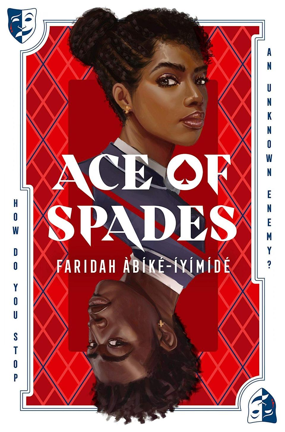 The cover of Ace of Spades shows a young Black man and a young Black woman against a tartan backdrop the words Ace of Spades across them