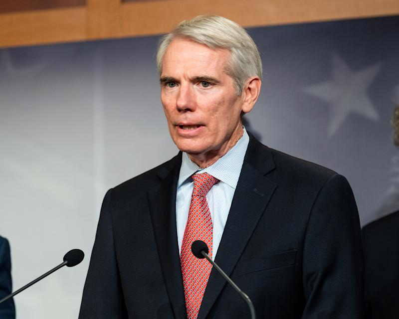 WASHINGTON, D C , UNITED STATES - 2019/06/27: U.S. Senator Rob Portman (R-OH) speaking at a press conference on sanctions on North Korea in the National Defense Authorization Act at the US Capitol in Washington, DC. (Photo by Michael Brochstein/SOPA Images/LightRocket via Getty Images)