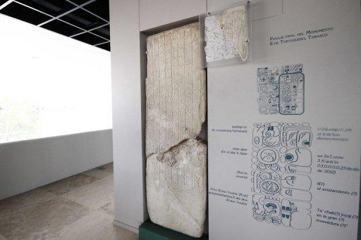 "The Maya Stone Number Six at the Tabasco Museum. ""The last inscription refers to December 23, 2012, but the central theme of Monument 6 is not the date, it's not the prophecies or the end of the world. It's the story of (then ruler) Bahlam Ajaw,"" Mexican archeologist Jose Romero said"