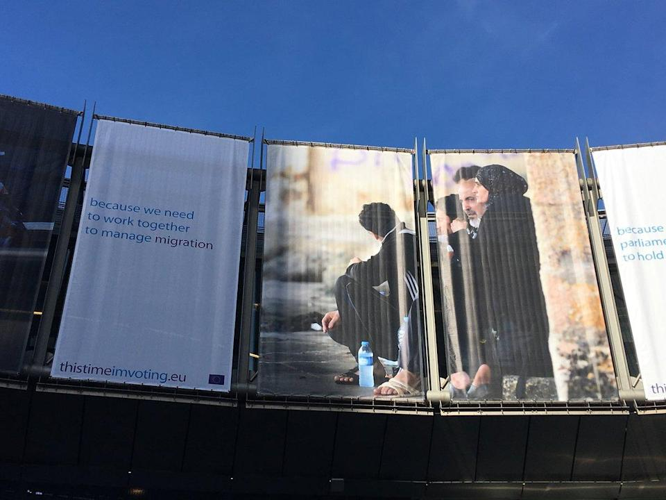 The European Parliament election banner which has sparked controversy (European Network Against Racism)