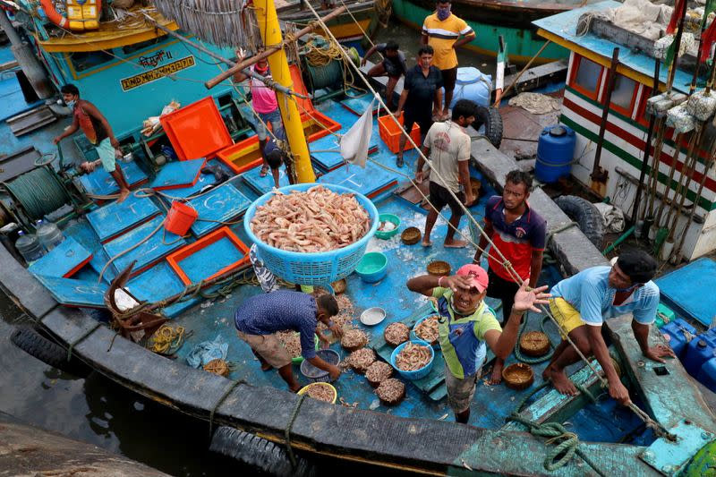 A fisherman throws a basket filled with prawns for sorting at a fish market, amidst the spread of the coronavirus disease (COVID-19), in Mumbai