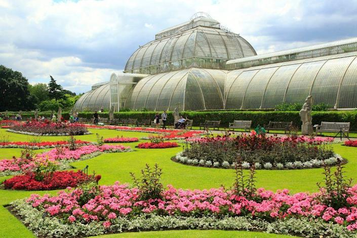 """<p>Considered an astounding feat of engineering for the 19th century, the Palm House in the <a href=""""https://www.kew.org/"""" rel=""""nofollow noopener"""" target=""""_blank"""" data-ylk=""""slk:Kew Gardens"""" class=""""link rapid-noclick-resp"""">Kew Gardens</a> is constructed completely of iron and glass. Iron-maker Richard Turner borrowed techniques from the shipbuilding industry to make the grandiose greenhouse, designed by Decimus Burton, come to life. </p><p> Since its completion in 1848, the wrought-iron stunner has housed tropical and subtropical plants, including the oldest pot plant in the world. </p>"""