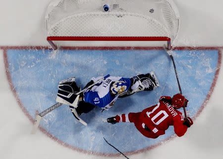 Ice Hockey - Pyeongchang 2018 Winter Olympics - Women's Bronze Medal Match - Finland v Olympic Athletes from Russia - Kwandong Hockey Centre, Gangneung, South Korea - February 21, 2018 - Olympic Athlete from Russia Lyudmila Belyakova scores their second goal. REUTERS/Kyung-Hoon Kim
