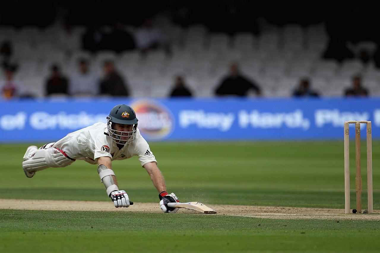 LONDON, ENGLAND - JULY 14:  Simon Katich of Australia dives for his ground during day two of the First Test between Pakistan and Australia at Lords on July 14, 2010 in London, England.  (Photo by Hamish Blair/Getty Images)