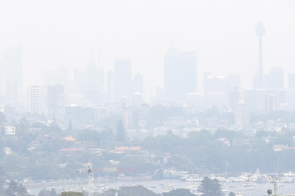 Sydney's CBD was hardly visible from the east on Wednesday. Source: AAP