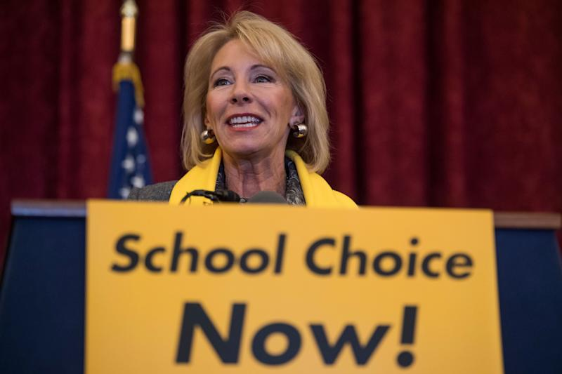 Education Secretary Betsy DeVos during a rally to promote the importance of school choice on Jan. 18 as part of National School Choice Week.