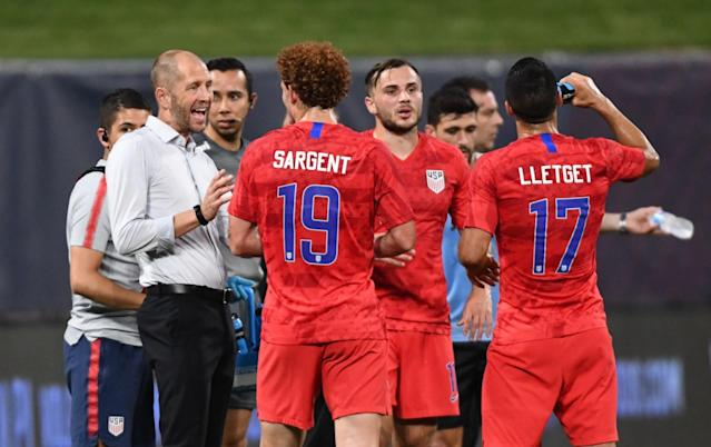 United States' head coach Gregg Berhalter (left) and his team will face a much improved Canadian side. (Tim Vizer/Getty)