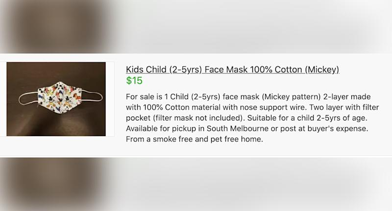 Pictured is an advertisement on Gumtree for a face mask for kids aged two to five.