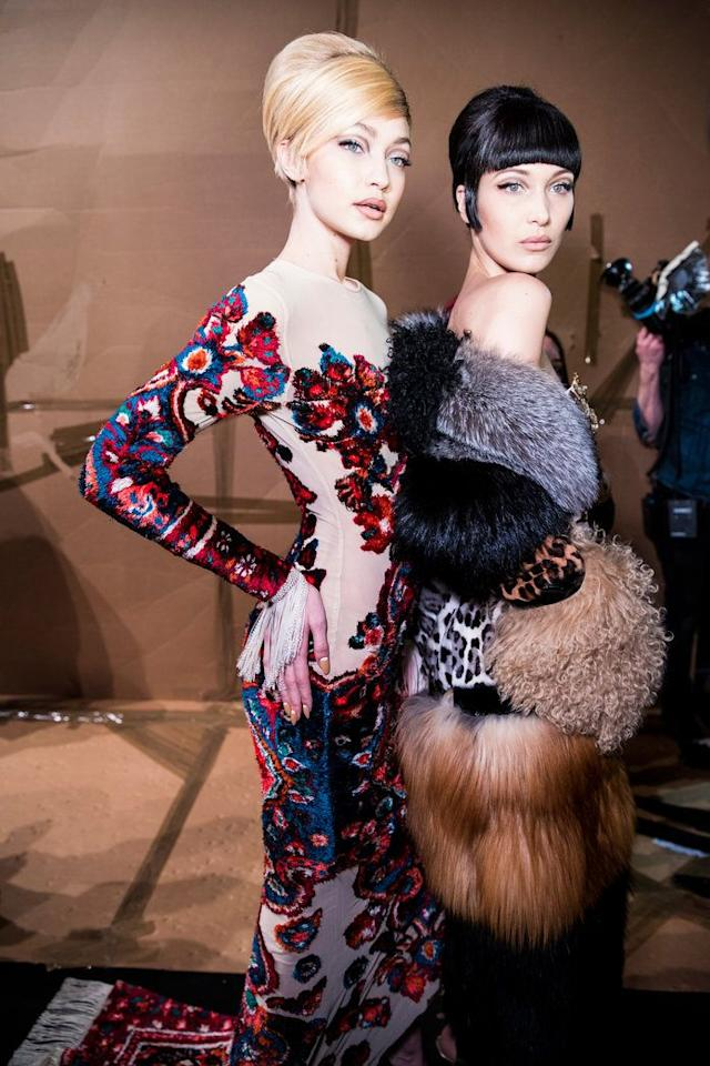 <p>At Moschino's fall 2017 show.</p>