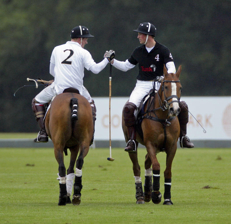 Prince Harry and Prince William, Duke of Cambridge shake hands after competing against each other in the Sentebale Polo Cup polo match at Coworth Park Polo Club on June 12, 2011 in Ascot, United Kingdom.
