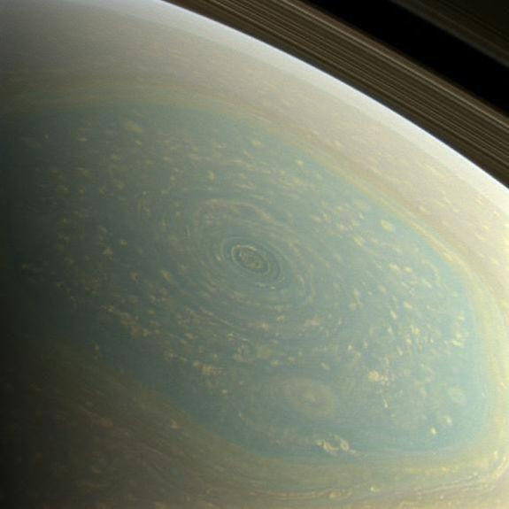 Saturn's hexagon in natural color.