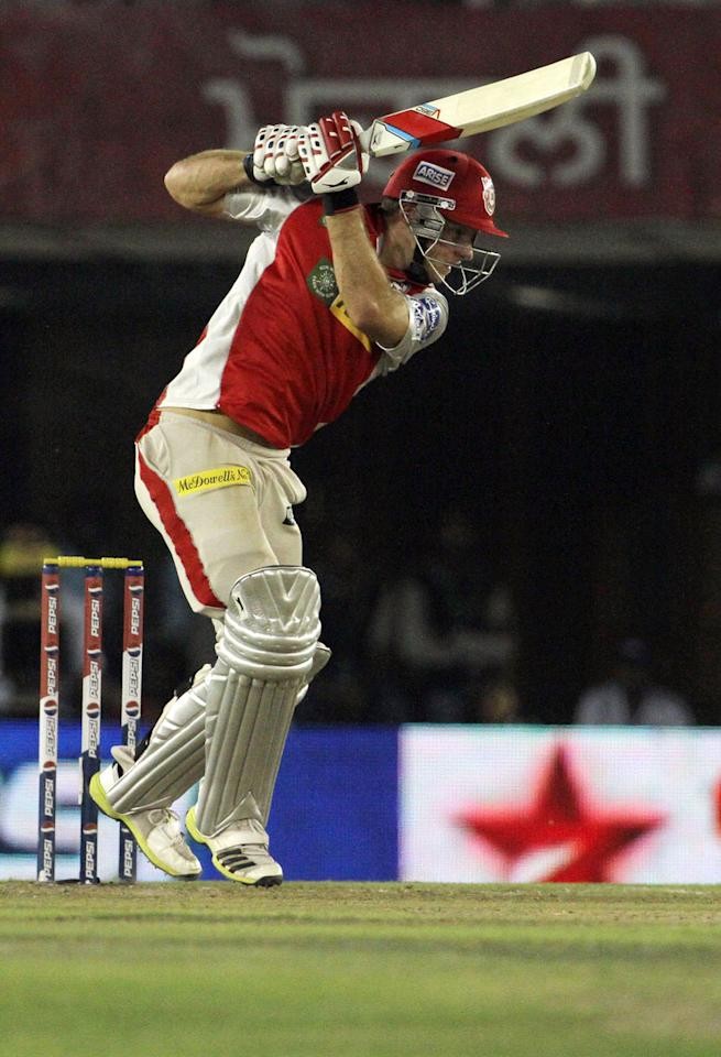 Kings XI Punjab player David Miller plays shot during match 29 of the Pepsi Indian Premier League between The Kings XI Punjab and the Pune Warriors held at the PCA Stadium, Mohali, India  on the 21st April 2013. (BCCI)