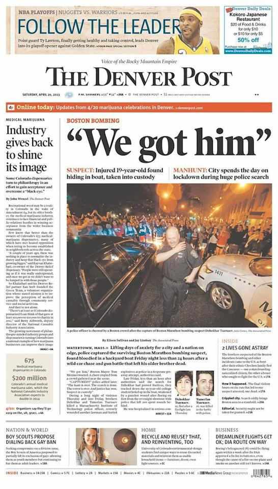 """We got him."" The Denver Post, April 20, 2013."