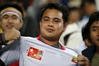 A portrait of Myanmar's National League for Democracy party leader Aung San Suu Kyi is seen on the shirt of a supporter during the World Cup qualifying soccer match between South Korea and Myanmar at the Suwon World Cup stadium in Suwon, South Korea, November 12, 2015. REUTERS/Kim Hong-Ji