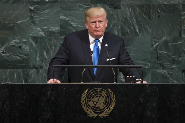 <p>President Trump addresses the United Nations General Assembly at U.N. headquarters, September 19, 2017 in New York City. (Photo: Drew Angerer/Getty Images) </p>