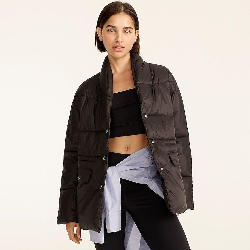 """<br><br><strong>J. Crew</strong> Alps puffer jacket with PrimaLoft®, $, available at <a href=""""https://go.skimresources.com/?id=30283X879131&url=https%3A%2F%2Fwww.jcrew.com%2Fp%2Fwomens%2Fcategories%2Fclothing%2Fcoats-and-jackets%2Fpuffer%2Fshawl-collar-puffer-jacket-with-primaloft%2FBA595%3Fdisplay%3Dstandard%26fit%3DClassic%26color_name%3Drose-petal%26colorProductCode%3DBA595"""" rel=""""nofollow noopener"""" target=""""_blank"""" data-ylk=""""slk:J. Crew"""" class=""""link rapid-noclick-resp"""">J. Crew</a>"""