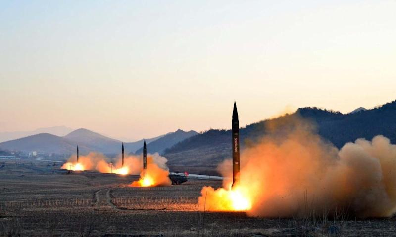 Images released by North Korea's Central News Agency of the 6 March launch of four ballistic missiles.