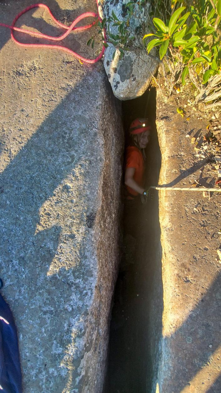 Jessica Van Ord, a rescuer with the New Jersey Initial Response Team, was able to slide into a crevice to rescue a 12-year-old dog, Liza, near Gertrude's Nose Trail in Minnewaska State Park Preserve in Ulster County on Tuesday, Oct. 12, 2021.