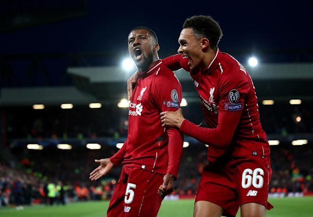 Georginio Wijnaldum and Trent Alexander-Arnold celebrate as Liverpool start to reel in Barcelona