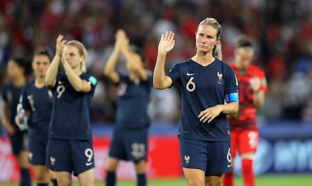 Amandine Henry of France shows appreciation to the fans after the 2019 FIFA Women's World Cup France Quarter Final match between France and USA at Parc des Princes on June 28, 2019 in Paris, France. (Photo by Elsa/Getty Images)