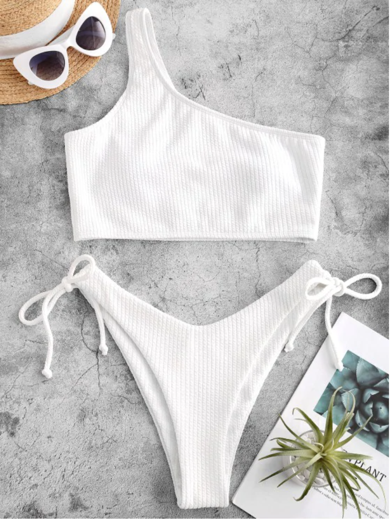 Textured One Shoulder High Leg Tankini Swimwear. Image via Zaful.