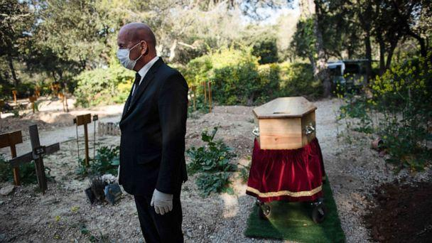 PHOTO: An undertaker wearing a protective mask amid the outbreak of the COVID-19, takes part in the burial ceremony of a man at the Aix-en-Provence cemetery, southern France, on April 7, 2020. (Clement Mahoudeau/AFP via Getty Images)