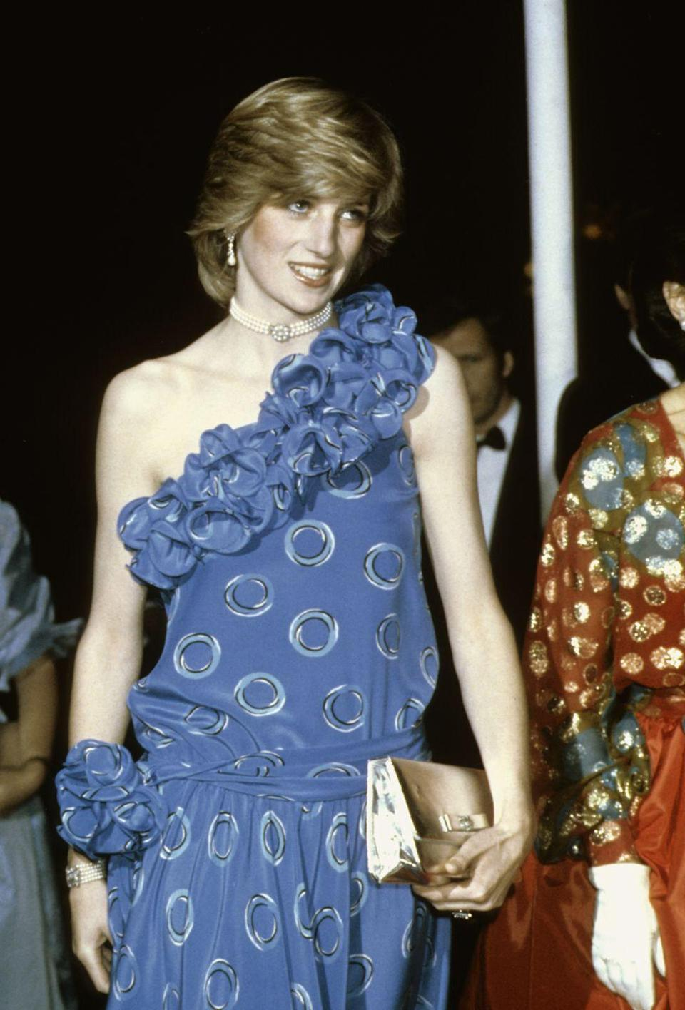 <p>Birthright benefit, 1982. Wearing Bruce Oldfield.</p>