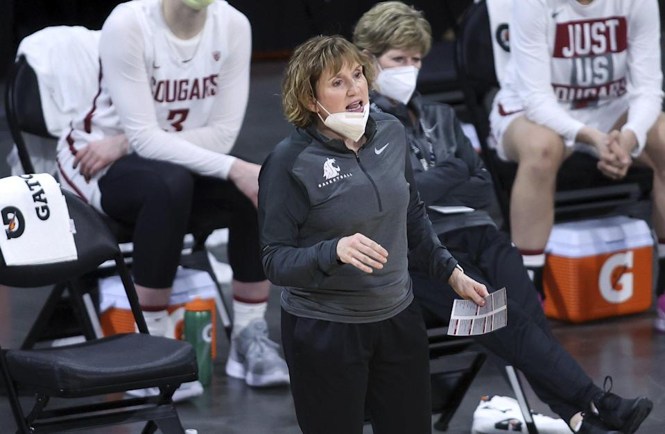 Washington State coach Kamie Ethridge shouts to players during the team's NCAA college basketball game against Utah in the first round of the Pac-12 women's tournament Wednesday, March 3, 2021, in Las Vegas.