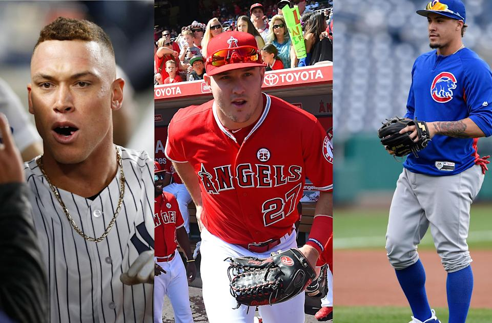 L-R: Aaron Judge of the Yankees; Mike Trout of the Angels; Javier Baez of the Cubs. (AP; Getty; AP)
