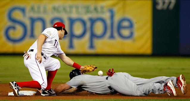ARLINGTON, TX - OCTOBER 24: Matt Holliday #7 of the St. Louis Cardinals slides into second base safely ahead of the tag by Ian Kinsler #5 of the Texas Rangers after a wild pitch in the second inning during Game Five of the MLB World Series at Rangers Ballpark in Arlington on October 24, 2011 in Arlington, Texas. (Photo by Tom Pennington/Getty Images)