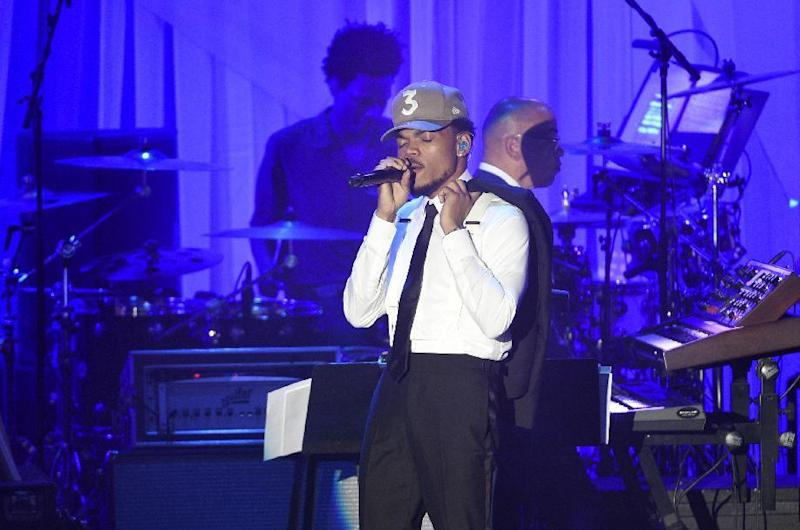 Chance the Rapper performs at the Clive Davis and The Recording Academy Pre-Grammy Gala at the Beverly Hilton Hotel on Saturday, Feb. 11, 2017, in Beverly Hills, Calif. (Photo by Chris Pizzello/Invision/AP)