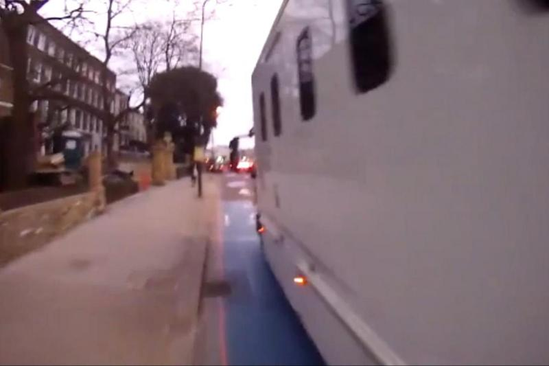Near-miss: the van can be seen cutting into the blue cycle lane (Lee Christensen)