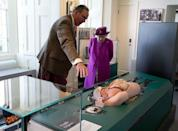 <p>The queen explores exhibits of the newly-opened Sutherland Highlanders Museum at Stirling Castle in Stirling, Scotland.</p>