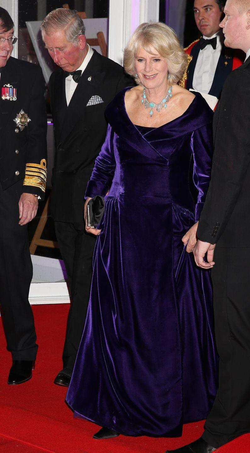 <p>Duchess Camilla has her own stunning Turquoise Demi-Parure (consisting of earrings and a necklace) that she reportedly inherited from her own family. She paired the set with a regal purple gown for the Sun Military Awards at the Imperial War Museum in the winter of 2012. </p>