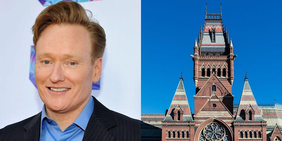"""<p><strong>Harvard University</strong></p><p>At Harvard, O' Brien concentrated in history and literature and graduated magna cum laude<em>. </em>During college, he was the drummer in a band called """"The Bad Clams,"""" and wrote for the <em>Harvard Lampoon</em> humor magazine. He served as the magazine's president his sophomore and junior years. </p><p>O' Brien has also <a href=""""http://www.pressherald.com/2016/02/12/conan-obrien-recalls-studies-pranks-at-harvard/"""" rel=""""nofollow noopener"""" target=""""_blank"""" data-ylk=""""slk:admitted to stealing the outfit worn by Robin"""" class=""""link rapid-noclick-resp"""">admitted to stealing the outfit worn by Robin</a> in the '60s TV show <em>Batman</em> when it was displayed on campus. </p>"""