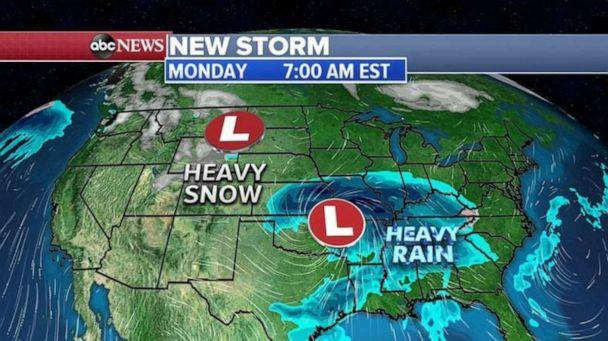 PHOTO: The northern storm is expected to move through the northern Rockies and into the northern Plains with snow. (ABC News)
