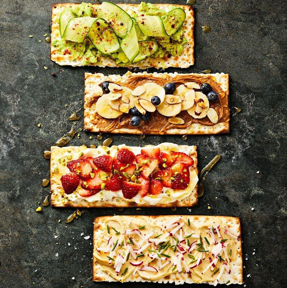 """<p>Whether it's Passover or you just like the taste of matzo, these creative topping ideas are delicious for breakfast any time of the year.</p><p><a href=""""https://www.goodhousekeeping.com/food-recipes/a35591339/matzo-toasts-recipe/"""" rel=""""nofollow noopener"""" target=""""_blank"""" data-ylk=""""slk:Get the Matzo Toasts recipe »"""" class=""""link rapid-noclick-resp""""><em>Get the Matzo Toasts recipe »</em></a></p>"""