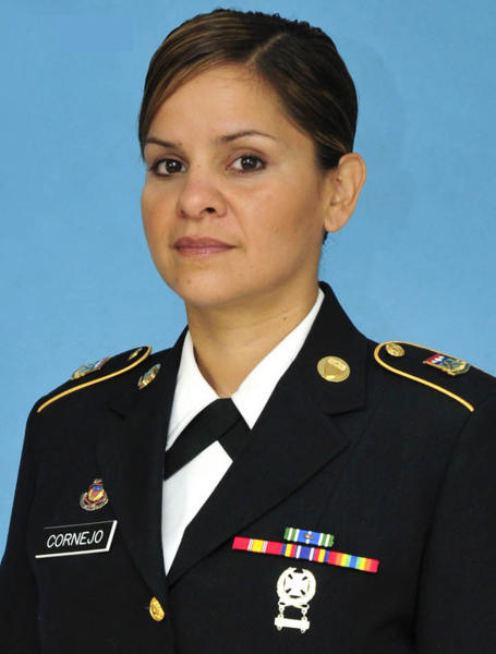 Colorado Army National Guard 2nd Lt. Christina Cornejo, ex-girlfriend of Brian Heglin, is seen in an undated photo provided by the Colorado National Guard. Heglin, a SkyWest Airlines pilot suspected of killing Cornejo, stole an empty 50-passenger jet Tuesday, July 17, 2012 from a small Utah airport, crashed it as he drove near a terminal, then was found dead with a self-inflicted gunshot wound, officials said. Police found the body of Cornejo, 39, on July 13 in Colorado Springs, Colo. Authorities say she had been stabbed multiple times. (AP Photo/Colorado National Guard )