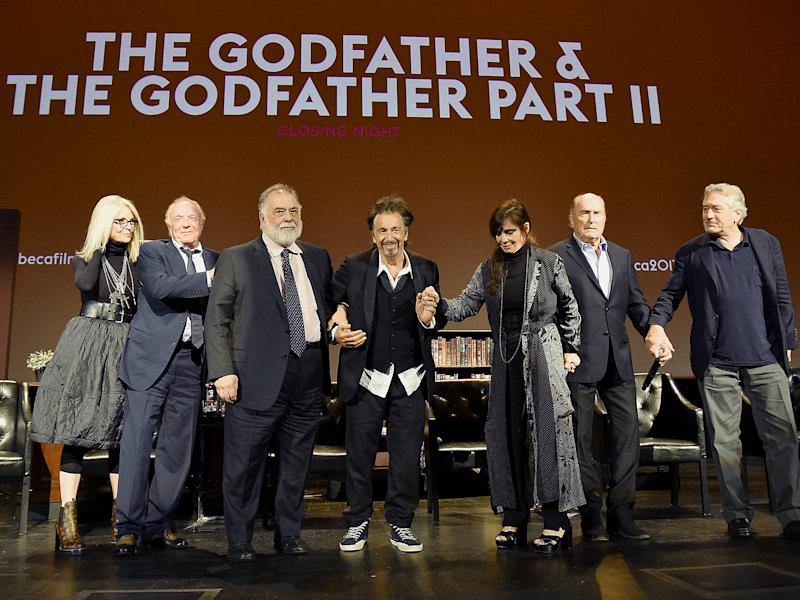 Diane Keaton, James Caan, Francis Ford Coppola, Al Pacino, Talia Shire, Robert Duvall and Robert DeNiro take a bow on stage during the panel for 'The Godfather' 45th Anniversary Screening during 2017 Tribeca Film Festival closing night at Radio City Music Hall: Getty Images