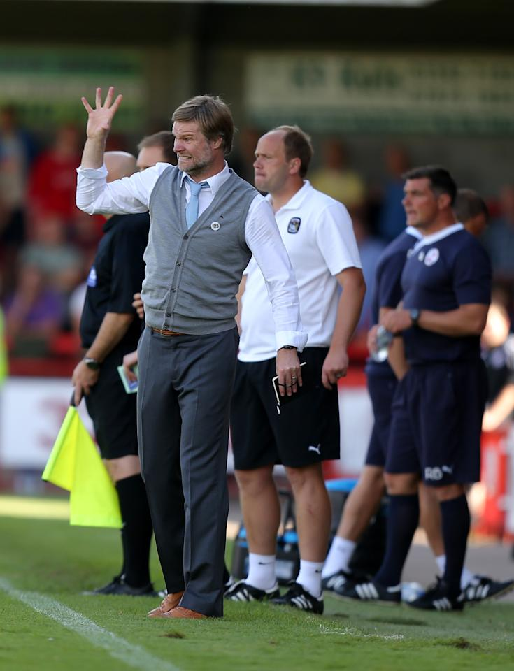 Coventry City's manager Steven Pressley urges his players forward during the Sky Bet League One match at Broadfield Stadium, Crawley.