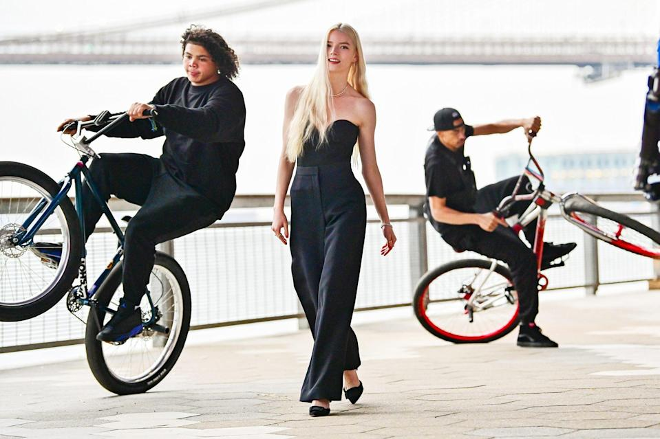 <p>Anya Taylor-Joy films a Tiffany & Co. commercial under the Manhattan Bridge on Wednesday in N.Y.C.</p>