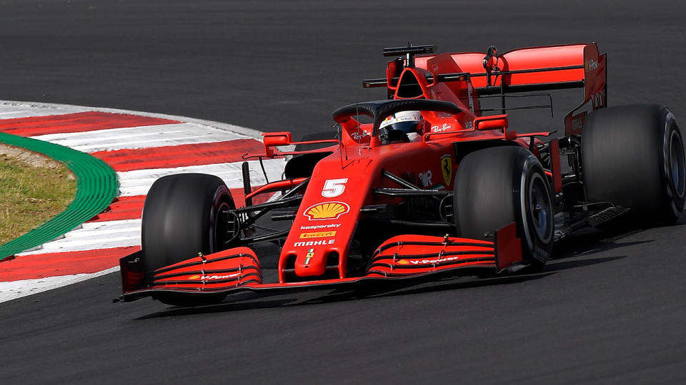 Sebastian Vettel is pictured driving during am F1 practice session ahead of the Portuguese Grand Prix.