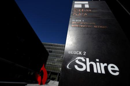 FILE PHOTO - Shire branding is seen outside their offices in Dublin, Ireland, April 25, 2018. REUTERS/Clodagh Kilcoyne