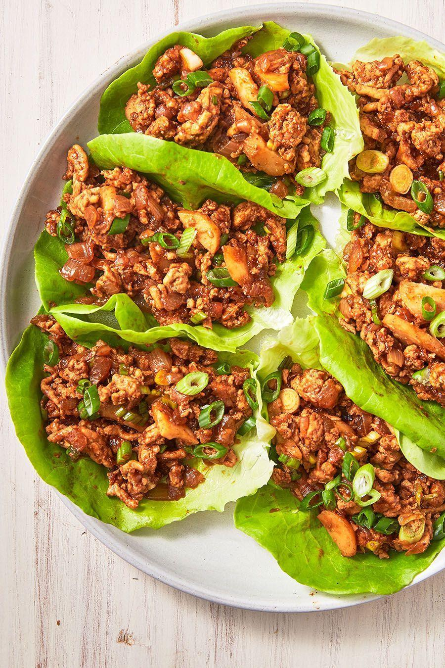 """<p>The sauce for these chicken lettuce wraps is extremely addicting. The sriracha adds a little heat, but you can definitely leave it out if you like (although, we like to add a little extra 😉).</p><p>Get the <a href=""""https://www.delish.com/uk/cooking/recipes/a29891044/asian-lettuce-wraps-recipe/"""" rel=""""nofollow noopener"""" target=""""_blank"""" data-ylk=""""slk:Asian Chicken Lettuce Wraps"""" class=""""link rapid-noclick-resp"""">Asian Chicken Lettuce Wraps</a> recipe.</p>"""