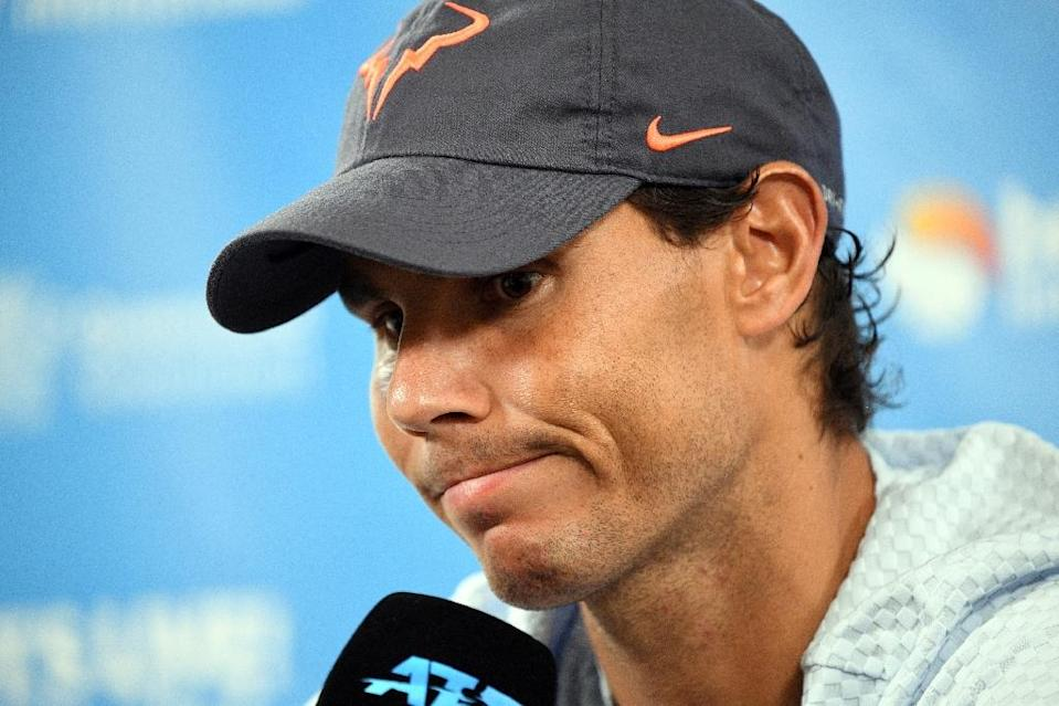 Rafael Nadal speaks during a press conference at the Brisbane International on Wednesday (AFP Photo/Saeed Khan)