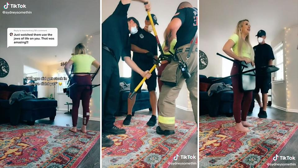 A woman got stuck in a chair while filming a video for work. Source: TikTok/ sydneysomethin